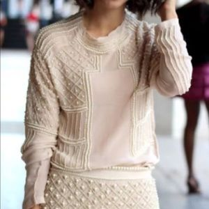 so pretty zara nude/pearl embellished blouse top